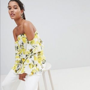 Pretty Little Thing yellow floral ruffle sleeve